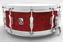 "BRITISH DRUM CO. 14 x 6.5"" Legend snare drum, cold-pressed birch 6 mm shell, Buckingham Scarlett finish"