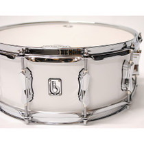 "BRITISH DRUM CO. 14 x 6.5"" Legend snare drum, cold-pressed birch 6 mm shell, Piccadilly White finish"
