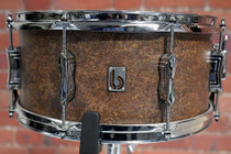 """BRITISH DRUM CO. 14 x 6.5"""" Lounge snare drum, mahogany and birch 5.5 mm blended shell, Iron Bridge finish"""