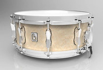 """BRITISH DRUM CO. 14 x 6.5"""" Lounge snare drum, mahogany and birch 5.5 mm blended shell, Wiltshire White finish"""