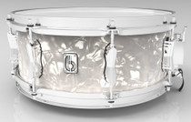 """BRITISH DRUM CO. 14 x 6.5"""" Lounge snare drum, mahogany and birch 5.5 mm blended shell, Windermere Pearl finish"""