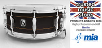 """BRITISH DRUM CO. 14 x 6.5"""" Merlin snare drum, maple and birch 10.5 mm hybrid shell, 20 ply"""