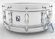 "BRITISH DRUM CO. 14 x 6"" Bluebird snare drum, double-beaded brass shell, chrome plating"