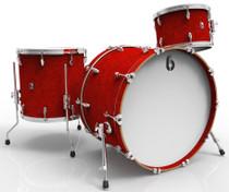 BRITISH DRUM CO. Legend Club 24 3-piece drum set, cold-pressed birch 6 mm shells, Buckingham Scarlett finish
