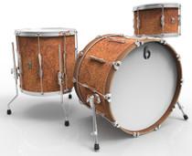 BRITISH DRUM CO. Lounge Club 22 3-piece drum set, mahogany and birch 5.5 mm blended shells, Iron Bridge finish