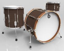 BRITISH DRUM CO. Lounge Club 22 3-piece drum set, mahogany and birch 5.5 mm blended shells, Kensington Crown finish