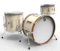 BRITISH DRUM CO. Lounge Club 22 3-piece drum set, mahogany and birch 5.5 mm blended shells, Wiltshire White finish
