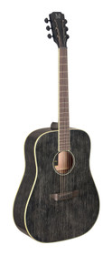 J.N GUITARS Acoustic dreadnought guitar with solid mahogany top, Yakisugi series