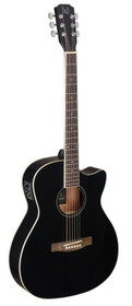 J.N GUITARS Black acoustic-electric auditorium guitar with solid spruce top, Bessie series