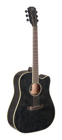 J.N GUITARS Cutaway acoustic-electric dreadnought guitar with solid mahogany top, Yakisugi series