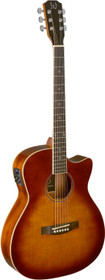 J.N GUITARS Dark cherryburst acoustic-electric auditorium guitar with solid spruce top, Bessie series