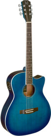 J.N GUITARS Transparent blueburst acoustic-electric auditorium guitar with solid spruce top, Bessie series