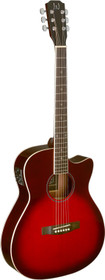 J.N GUITARS Transparent redburst acoustic-electric auditorium guitar with solid spruce top, Bessie series