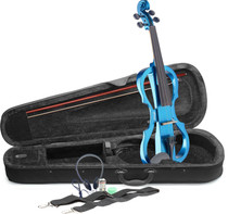 STAGG 4/4 electric violin set with metallic blue electric violin, soft case and headphones