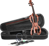 STAGG 4/4 electric violin set with violinburst colour, soft case and headphones