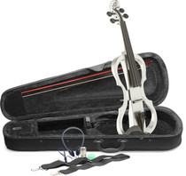 STAGG 4/4 electric violin set with white electric violin, soft case and headphones