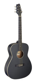 STAGG Auditorium guitar with basswood top, black, left-handed model