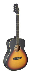 STAGG Auditorium guitar with basswood top, sunburst, left-handed model