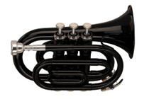 STAGG Bb pocket trumpet, ML-bore, brass body, black