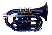 STAGG Bb pocket trumpet, ML-bore, brass body, blue