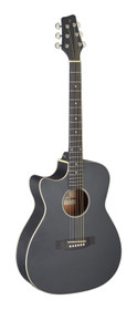STAGG Cutaway acoustic-electric auditorium guitar, black, left-handed model