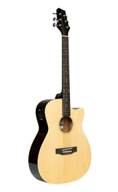 STAGG Cutaway acoustic-electric auditorium guitar, natural colour