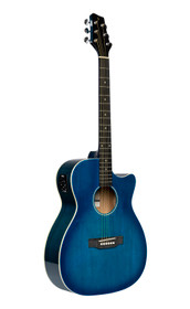STAGG Cutaway acoustic-electric auditorium guitar, transparent blue