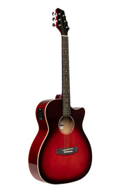 STAGG Cutaway acoustic-electric auditorium guitar, transparent red