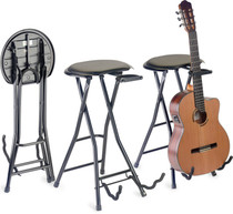 STAGG Foldable stool with rectangular seat and built-in guitar stand