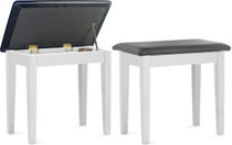 STAGG Matt white piano bench with black vinyl top and storage compartment