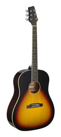 STAGG Slope Shoulder dreadnought guitar, sunburst, lefthanded model