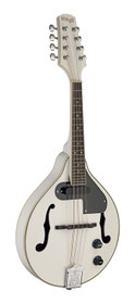 STAGG White acoustic-electric bluegrass mandolin with nato top