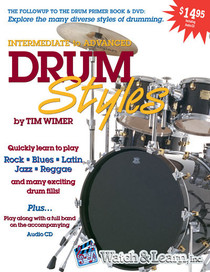 Tim Wimer Intermediate Drum Styles Book w CD Instruction Lesson Watch and Learn