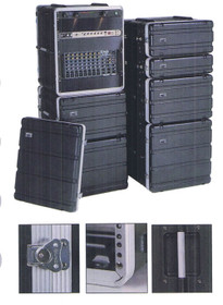 MBT 4 Space RACK Case 4U with front and back covers ABS flight style case