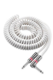 """Monster Classic 12' Coiled White Instrument Cable Guitar 1/4"""" Straight to Straight"""
