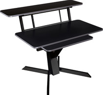 Quik Lok Triple Shelf Workstation with black wood tops and pull-out shelf and rack space