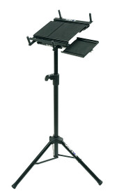Quik Lok Tripod Laptop Stand with retractable mouse pad tray