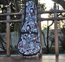 Soprano Ukulele Gig Bag Padded Soft Case White Paisley Pattern