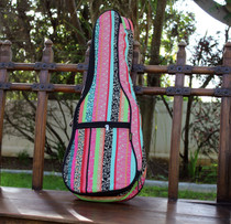Tenor Ukulele Gig Bag Padded Soft Case Multicolor Pink Multicolor Stripe