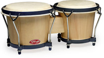 "STAGG Natural Finish 6""-7"" Traditional Wooden Bongo Set with Tuning Lugs"