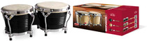 "STAGG Black Finish 7.5"" & 6.5"" Latin Wood Bongos with Chromed Steel Rims"