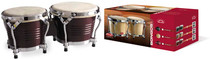 "STAGG Wild Cherry Finish 7.5"" & 6.5"" Latin Wood Bongos with Steel Rims"