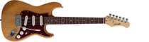 STAGG Natural Semi-gloss Standard S Electric Guitar w/3xPickups