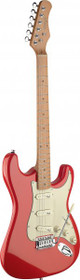 Stagg Vintage Style Electric Guitar Fiesta Red Solid Alder Body Ses50M-Frd