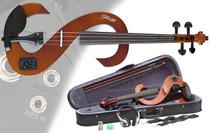 STAGG Violinburst 4/4 Silent Electric Violin Set w/Fine Tuners Solid Maple
