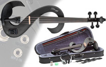 STAGG Metallic Black 4/4 Silent Electric Violin Set w/Fine Tuners Solid Maple