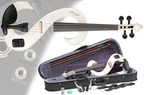 STAGG White 4/4 Silent Electric Violin Set w/Fine Tuners Solid Maple Full Size
