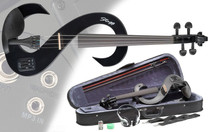 STAGG Black 4/4 Silent Electric Violin Set w/Fine Tuners Solid Maple Outfit