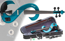 STAGG Metallic Blue 4/4 Silent Electric Violin Set w/Fine Tuners Solid Maple