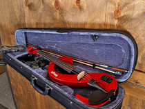 STAGG Metallic Red 4/4 Silent Electric Violin Set w/Fine Tuners Solid Maple